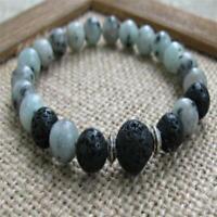 8MM Spotted Stone Lava Stone Mala Bracelets Tibet silver Bead Meditation