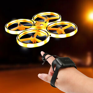 Gesture Remote Controll Four Axis Smart Night Drone USB Aircraft Quadcopter Toys