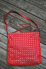 REBECCA MINKOFF Hot Red MILO HOBO Stud Tote Bag Purse