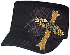 Women's Cadet Hat Rhinestone Yellow Embroidered Cross New Design Hat Cap Black