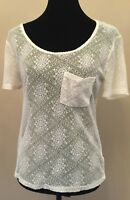 Kimchi Blue Urban Outfitters Womens T-Shirt Size Medium Ivory Lace Short Sleeve