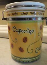 MSC Jocha Ceramic Capuccino Coffee Cafe Yellow Canister Locking Jar EUC
