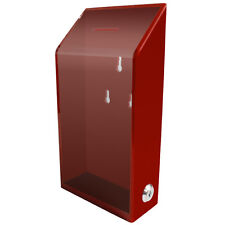 MCB Acrylic Charity Donation box,Tip Container,with lock & 2 keys(Red)
