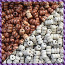 100 Perles Legno Tubo 2 coloris Marrone Scurire / Ecru