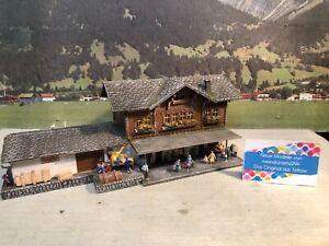 👍Diorama kleiner Bahnhof Bergbahnhof Alpen beleuchtet patiniert gealtert H0 1:8