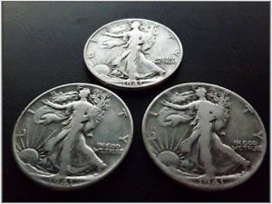 3 1941 Walking Liberty Half Dollars Silver - Lot of 3