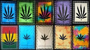 Ethnic Poster Marijuana Leaf Tapestry Small Wall Hanging Cotton Fabric Indian