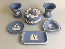 WEDGWOOD Jasperware Blue ~ Vases, Tray, Trinkets, Pin Dish - Job Lot X6