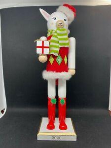 "2020 Wooden Christmas Holiday Llama Nutcracker 14"""