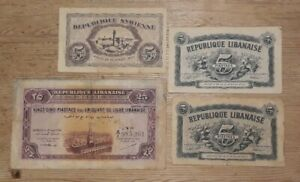 French Lebanon and Syria - 5 & 25  Piastres Notes Dated 1942
