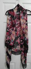 Lavello Edge Designs Fits Plus 1X Bohemian Floral Fringe Vest Wrap Tunic NWOT
