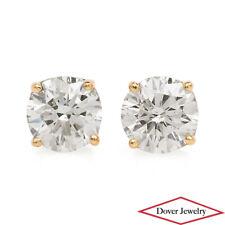 Estate 1.48ct Round Cut Diamond 14K Yellow Gold Lovely Stud Earrings NR