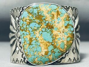 ONE OF BIGGEST BEST NATIVE AMERICAN ROYSTON TURQUOISE STERLING SILVER BRACELET