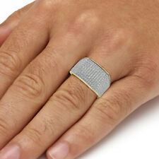 Men's 10k Yellow Gold Simulated Diamond Ring Cluster Cocktail Pinky Band Ring
