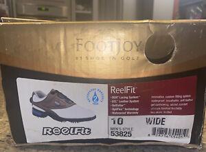 FootJoy Men's Golf Shoe Reel Fit Size 10W Wide 53825 White and Brown NIB