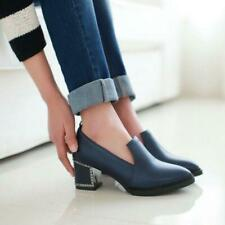 Women's british Pointy Toe Chunky Heel slip on loafer Casual Shoes