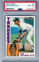 "1984 Topps #8  ""Don Mattingly""  RC ROOKIE  PSA 8 ""New York Yankees"""