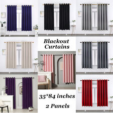 """2Pc Thick Grommet Blackout Window Curtains Thermal Insulated Drapes in 35""""x84"""""""