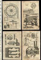 Mills wheels water Lapidary 1754 Thomas Jefferys lot of 6 old engraved prints