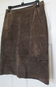 CHICO'S DESIGN womens A-line Suede Leather Skirt  sz 0