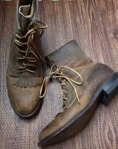 Justin Kiltie Roper Lace Up Leather Boots Women's Size 9 Western Cowboy 545