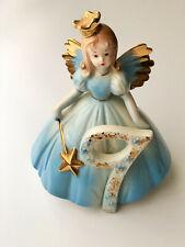 Josef Originals Porcelain 9 Year Birthday Angel Golden Wand Tiara Blue Dress Ec