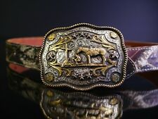 Nocona Women's Western Gold and Silver Big Buckle Belt