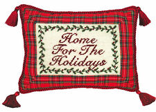 "Pillows - ""Home For The Holidays"" Pillow - Petit-Point Christmas Pillow"
