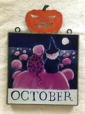 Nancy Thomas October Plaque Pumpkins Rare Metal Pumpkin Topper