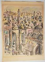 AP ARTIST PROOF LIMITED EDITION 2/15 SIGNED LITHOGRAPH BY YOSSI STERN CITYSCAPE