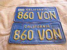 Vintage California License Plate Blue/Yellow Pair
