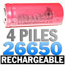 4 PILES ACCUS RECHARGEABLE BATTERIE 26650 6800mAh 3.7V Li-ion BATTERY