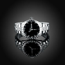 Fashion Women Quartz 925 Silver Finger Ring Watch Personality Jewelry Gift