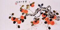 HANDPAINTED ORIGINAL ASIAN ART CHINESE WATERCOLOR PAINTING-Birds lover&Grape