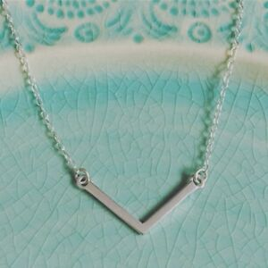 Silver Chevron Necklace Solid Sterling 925 Simple Triangle Minimalist Geometric