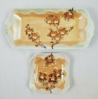 VINTAGE Luster Ware ORANGE CHERRY BLOSSOM 2Pc. Nut/Candy/Trinket Made In JAPAN