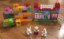65 Pc Lego Duplo 10571 All In One Pink Box Of Fun 100% Complete**No Box HTF 2014
