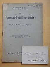 1909-SOPRAPREZZO DELLE AZIONI-Prof.ULISSE MANARA Autografo-LEGGE-LUGO DI ROMAGNA