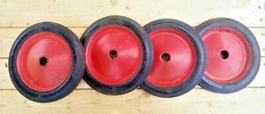 Vintage Firestone Red Wagon / Peddle Car Wheels Hard Rubber Tires Antique Toys