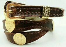 Brown HATBAND Scalloped Leather with GOLD Round + Heart CONCHOS Cowboy Hat Band