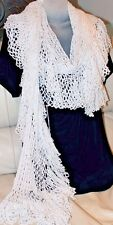 Luxurious Long White Crochet Scarf Handmade Scalloped Shawl Holidays Snow Winter