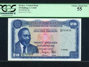 Kenya:P-8a,20 Shillings,1969 * Jomo Kenyatta * 2nd Issue ! * PCGS AU 55 *