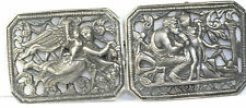 VINTAGE ANTIQUE LARGE STERLING SILVER ANGELS BELT BUCKLE