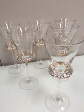 Set of 6 White Wine Glasses Diamonte Clear Boxed 22cm Tall Gift Drinking 340ml