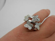 Heavy Stunning Designer 14k Solid White Gold Diamond Butterfly Ring Size 9