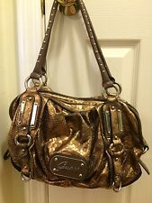 Guess Metallic Brown Bronze Snakeskin Slouchy Shoulder Bag