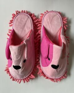 Pink Dog Removable Mop Closed Toe Slipper 100% Polyester NEW