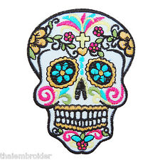Mexican Sugar Skull Flowers Cross Christian Motorcycle Biker Iron on Patch SK001