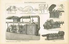 Tafel BAUMWOLLE / BAUMWOLLSPINNEREI / MASCHINEN Original-Holzstich 1894