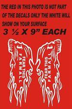"X  PAIR OF FARMALL FEAR THIS  FLAMING HEAD  DECALS 1L & 1R SIDE 3 1/2 X9"""